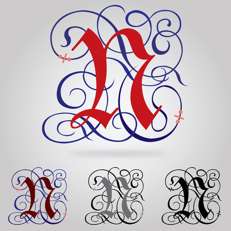 old english letter alphabet: Decorated uppercase Gothic font - Letter N