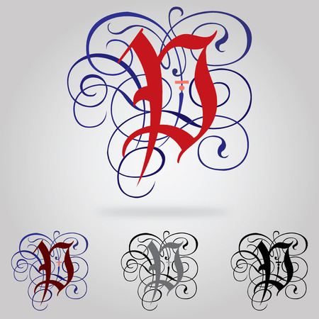 Decorated uppercase Gothic font - Letter P