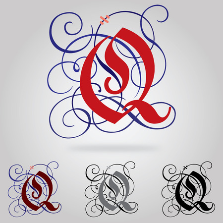 uppercase: Decorated uppercase Gothic font - Letter Q