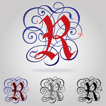 old english letter alphabet: Decorated uppercase Gothic font - Letter R