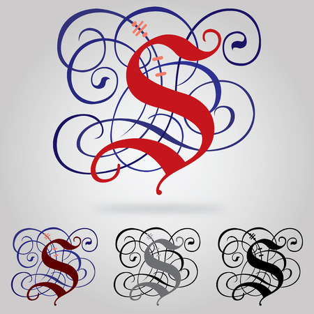 Decorated uppercase Gothic font - Letter s