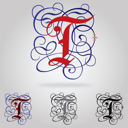 Decorated uppercase Gothic font - Letter T