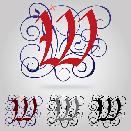 uppercase: Decorated uppercase Gothic font - Letter W Illustration