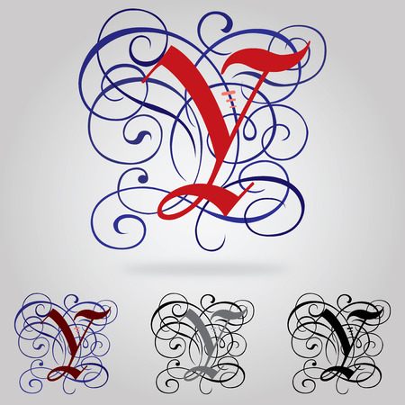 Decorated uppercase Gothic font - Letter Y Vector