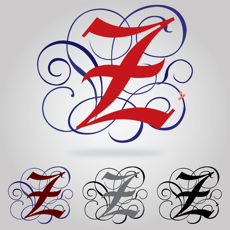 old english letters: Decorated uppercase Gothic font - Letter Z