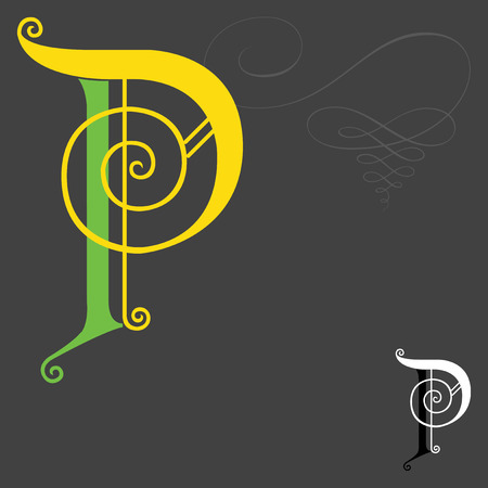 fonts music: Music style English alphabets - Letter P