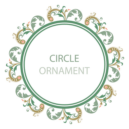 ornamental plant: Ornamental plant leaves, circle design