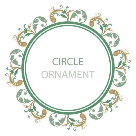 ornate frame: Ornamental plant leaves, circle design