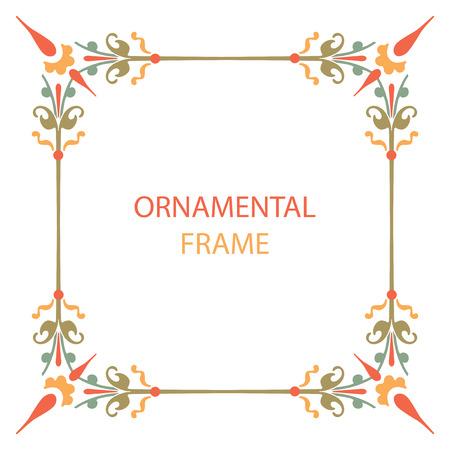 ornament frame: Natural ornament frame, colorful vector design