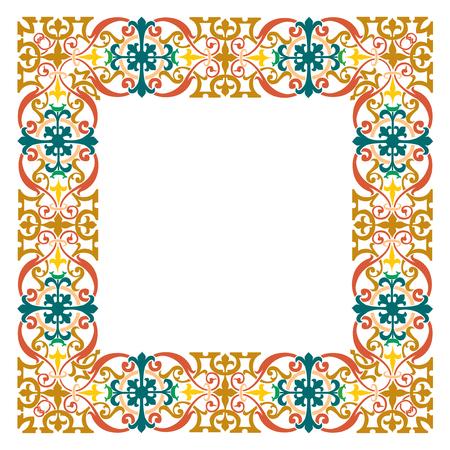 Detailed garnished oriental frame, ancient square border