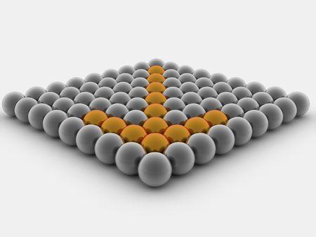 compa�erismo: Flecha de las esferas. 3d  Foto de archivo