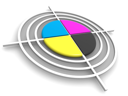 polygraphic: Polygraphic target. CMYK. 3d