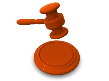 subpoena: Gavel. 3d Stock Photo