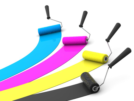 whitewash: roller brush. 3d. CMYK Stock Photo