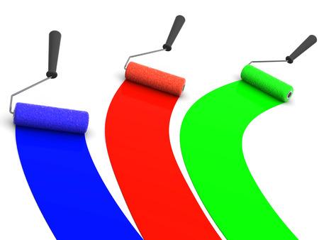 whitewash: roller brush. 3d. RGB