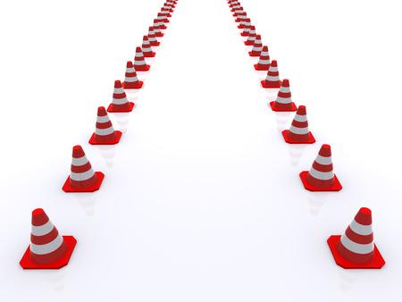 Traffic cones. 3d photo