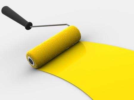 whitewash: Roller brush. 3d