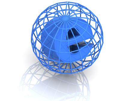 url: symbol for internet. 3d