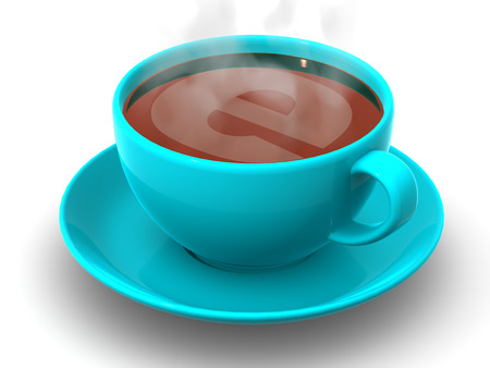 online logo: Cup of coffee with a symbol of the internet. 3d