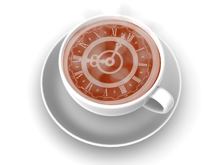 oclock: Cup with clock. Eight oclock 3d