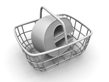 Consumers basket with symbol for internet. 3d photo