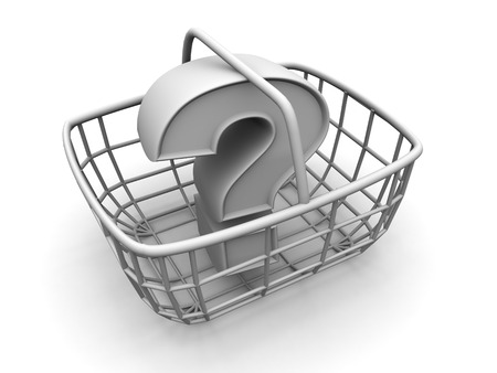 eating questions: Consumers basket with question. 3d Stock Photo