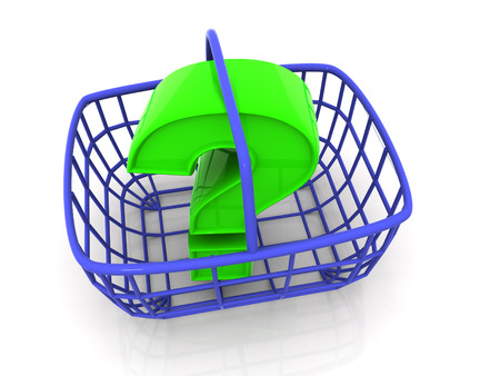 buying questions: Consumers basket with question. 3d Stock Photo