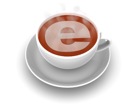e liquid: Cup of coffee with a symbol of the internet. 3d