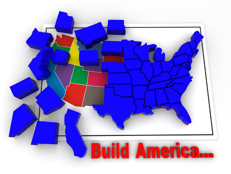 Puzzle build USA. 3d photo