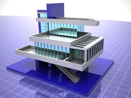 Model of house. 3d Stock Photo - 1648471
