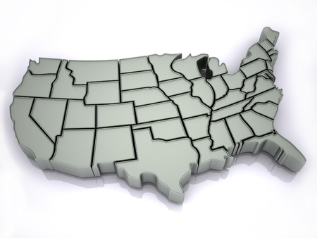 state boundary: Map of USA. 3d