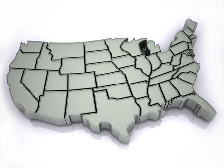 michigan state: Map of USA. 3d