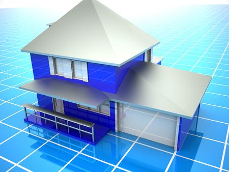 Model of house. 3d Stock Photo - 1648475