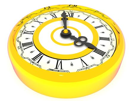 oclock: clock. Four oclock. 3d Stock Photo