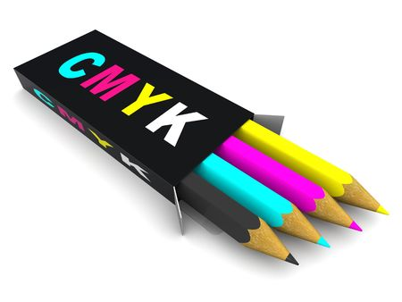 polygraphic: Box with pencils. CMYK. 3d