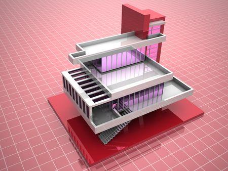 Model of house. 3d Stock Photo - 1808610