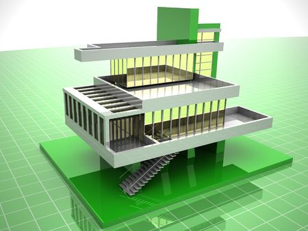 Model of house. 3d Stock Photo - 1808609
