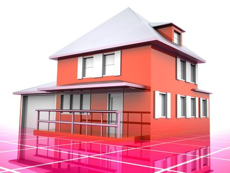 Model of house. 3d Stock Photo - 1808606