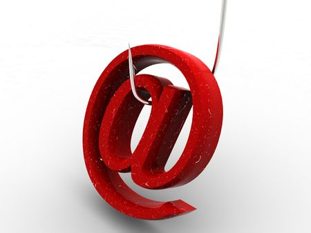 Symbol for internet on fishing hook. 3d Stock Photo - 1808564