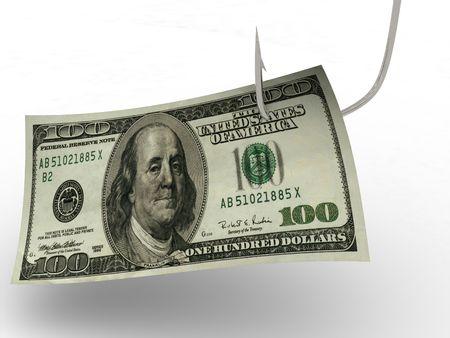 hundred dollars on fishing hook. 3d photo