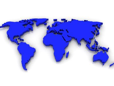 earth logo: Map of World.  3d