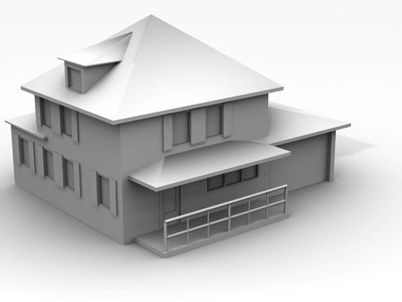 Model of house. 3d Stock Photo - 1887063