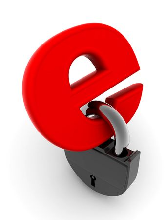 Symbol for internet with lock. 3d photo