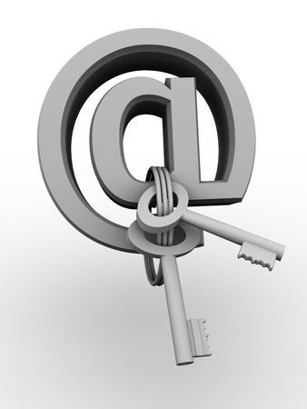 Symbol for internet with keys. 3d photo