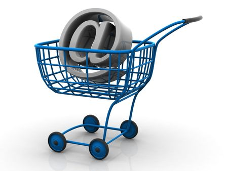Consumer basket with sign for internet. 3d Stock Photo - 2087096