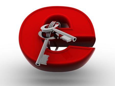 bug key: Symbol for internet with keys. 3d