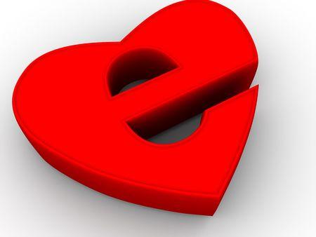 Symbol of internet as heart. 3d photo