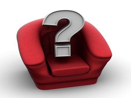 vacancy: Armchair with question. Vacancy. 3d Stock Photo