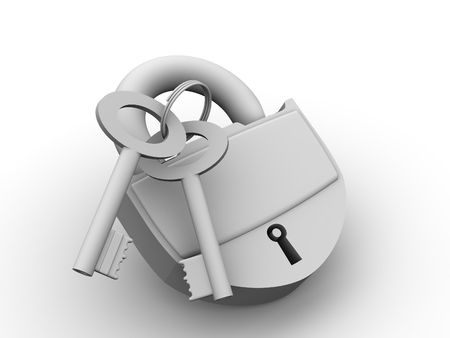 Padlock with keys. 3d photo