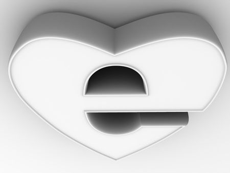 Symbol of internet as heart. 3d photo